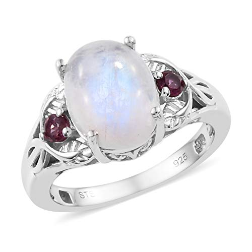 Statement Ring 925 Sterling Silver Platinum Plated Rainbow Moonstone Rhodolite Garnet Gift Jewelry for Women Size 10