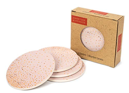 Ceramic Coasters for Drinks by Sweetzer & Orange - Pink and Rose Gold Drink Coasters, Round 4 Piece Coaster Set with Absorbent Ceramic Stone and Cork Base - Absorbant For Table, Desk and Bar ()
