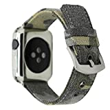 CRAZY PANDA Soft Breathable Canvas Band for Apple Watch Band, Men/Women Cool Camo Sweatproof Canvas Strap Compatible Apple Watch - Distressed Camo Green (38mm/40mm)