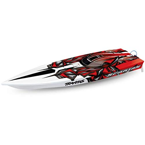 (Traxxas 57076-4-REDX Spartan Brushless Race Boat Fully assembled TQiT 2.4GHz rad)