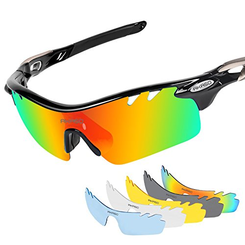 c8dad16e2b3 AKASO Men s Chameleon Multisport Polarized Sunglasses with 5  interchangeable lenses and 100% UV Protective Cycling