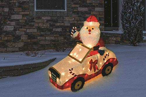 (SummitBrand Santa in Car Lighted 3D Christmas Yard Sculpture Decorations Indoor Or Outdoor)
