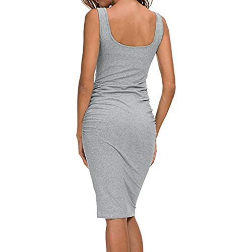 Abiti Donna Summer Pieghettato sonnena Casual da Short Grigio Sports Slim Sexy Dress festa Ladies rwrqHS
