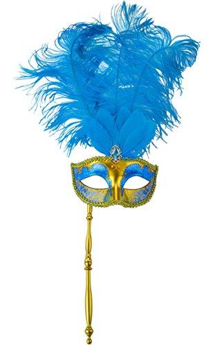 [Coxeer Masquerade Mask Half Face Feather Mask on a Stick Blue Mardi Gras Mask] (Blue Mardi Gras Mask)