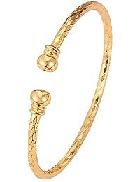 Simple Cuff Bracelet 18K Real Gold Platinum Plated Fine Bangle Bracelet Fashion Jewelry