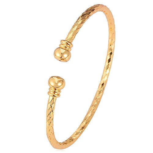 18k Gold Plated Cuff - U7 Simple Cuff Bracelet 18K Gold Platinum Plated Fine Bangle Bracelet Fashion Jewelry (18K Gold Plated)