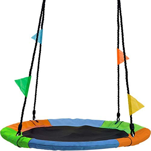Sorbus Saucer Tree Swing in Multi-Color Rainbow - Kids Indoor/Outdoor Round Mat Swing - Great for Tree, Swing Set, Backyard, Playground, Playroom - Accessories Included (Round - 24