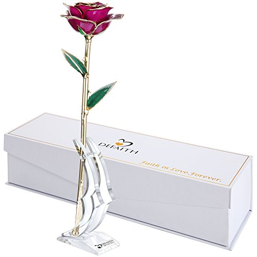 Purple Gold Rose, DEFAITH 24K Gold Trimmed Long Stem Real Rose with Moon-shape Rose Stand. Last a Lifetime. Great Gift for Birthday and (Great Birthday Gifts)