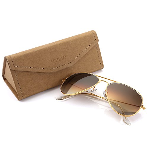 Premium Aviator Sunglasses for Men Women,Flash Mirror Lens UV400 Sunglasses Eyewear with Sun Glasses Case (Brown Lens/Gold Frame, - Wearing Woman Sunglasses