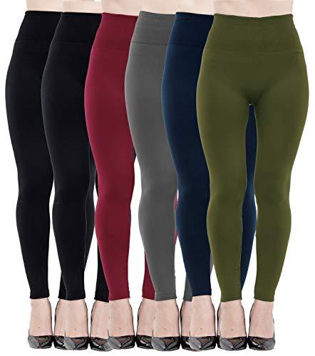- 6 Pack Women's Fleece Lined Leggings Soft High Waist Slimming Winter Warm Leggings