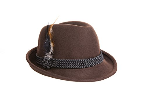 Holiday Oktoberfest Wool Bavarian Alpine Hat - Brown Color - Size Extra Large (XL) ()