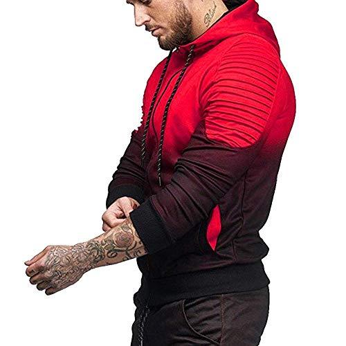 Longues Hommes couleur Hoodies Zhrui Automne Manches Casual Top Blouse Coutures Xl Sweatshirt Manteau Blanc Hiver Rouge Taille Hwxx5q0S