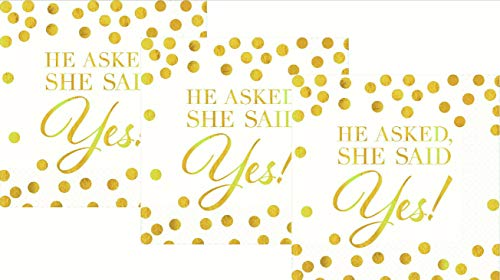 He Asked She Said Yes | Amscan Wedding Beverage Napkins Value Pack, Gold/White, 5