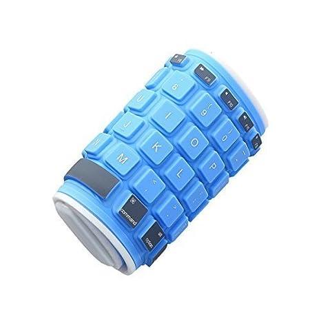 Teclado flexible impermeable,QWERTY inglés, para Apple/Samsung, azul 4860-X: Amazon.es: Electrónica