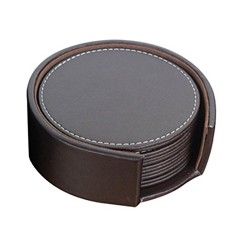 "ZF Brown Round Set of 6 PU Leather Cup Coaster with Coaster Holder(4.3""x4.3"")"