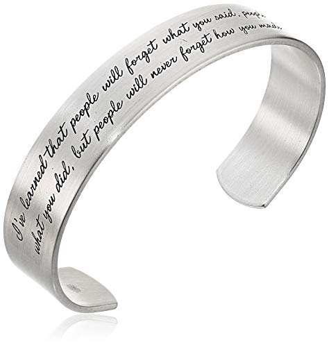 Dogeared 'Maya Angelou' I've Learned That People Will Forget What You Said Medium Engraved Sterling Silver Cuff Bracelet