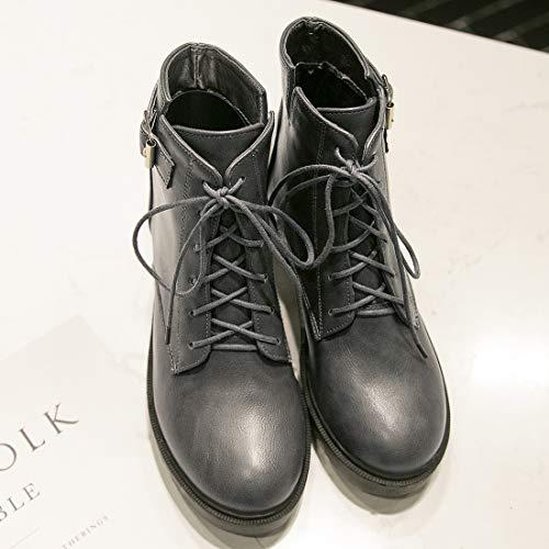 Bottine Winter Femme Hiver Boots A Botte Courte Plat Avec Gris Bx5wFqUA