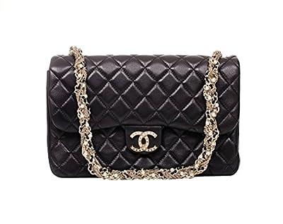 Louis Chanel Black Leather Shoulder Bag Handbag