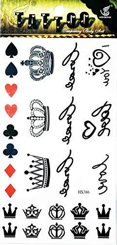 NipitShop 1 Sheet Crown Queen red Heart Font Write Love Waterproof Temporary Tattoo Sticker Water Transfer]()