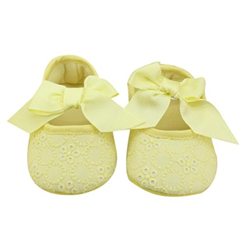 Zapatos de Bebé,Xinantime Algodón Bowknot Suave Prewalker Flor Niñas (17, Púrpura) Amarillo