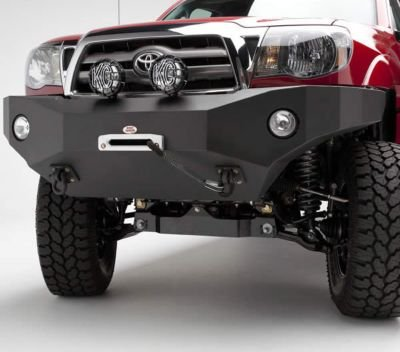 (Body Armor 4x4 TC-19335 Black - Steel Front Winch Bumper for 2005-2011 Toyota Tacoma)