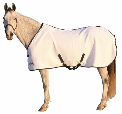 Equine Couture Waffle Weave Horse Sheet - White/Navy 80