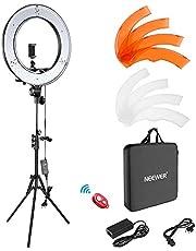 Neewer Camera foto video ring licht kit: 18 inch/48 centimeter buiten 52 W 5500 K dimbare LED ringlicht standplaats Bluetooth ontvanger voor smartphone YouTube self-portret opnames