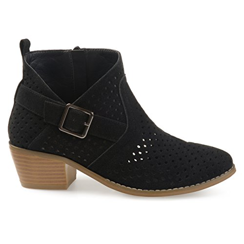 Brinley Co Womens Perforated Faux Suede Stacked Heel Asymmetrical Booties Black