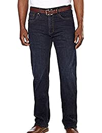 Men's Relaxed Fit Straight Leg Jeans (42 x 32, Midnight Blue)