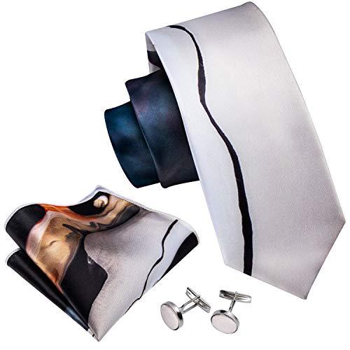 Barry.Wang Printed Ties for Men Designer Silk Hanky Cufflink Blue Beige