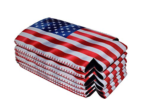 QualityPerfection 6 Slim American US Flag in The Wind - Neoprene Can Sleeves,Slim Beer Can Coolers,Energy Can Sleeves Great 4 Holidays,Sport/Business Events,Parties,Independence Day,BBQ,4th Of July by QualityPerfection (Image #3)