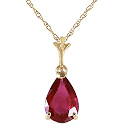 1.75 Carat 14k Solid Gold Natural Pear-shaped Ruby Drop Pendant Necklace