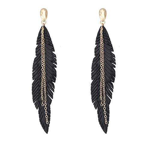 Leather Feather Earrings - NVENF Feather Tassel Dangle Earrings for Women Bohemian Faux Leather Plume Gold-Tone Metal Chain Fringe Statement Drop Earrings Vintage Ethnic Style Jewelry (Black)