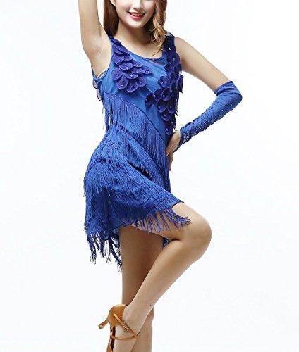 Regular Show Costumes (Whitewed Tassel Women s 1920s Flapper Salsa Dance Showgirl Costumes Dress Blue)