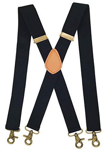 MENDENG Black Suspenders for Men with 4 Snap Hooks Adjustable Braces Groomsmen