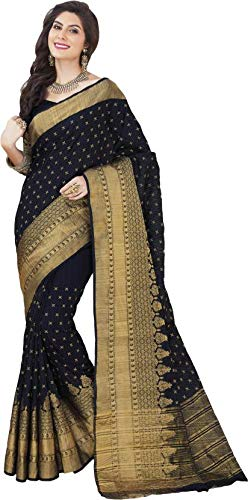e076e54372762a Rajguru Raw Silk Saree With Blouse Piece (E-239-Upasana Black Saree Free  Size)