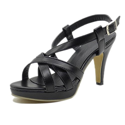 Maybest Women's Strap Sexy High Heel Open Toe Gladiator Sandals Summer Shoes Black 5 B (M)