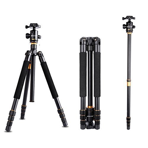 AFAITH Professinal DSLR Camera Tripod Monopod & Ball Head Portable Compact Travel For DSLR Camera Canon Nikon Sony Pentax Up to 17.5 lbs by AFAITH