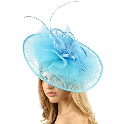 Big Kentucky Derby Feather Floral Organza Headband Fascinator Cocktail Hat Turquoise