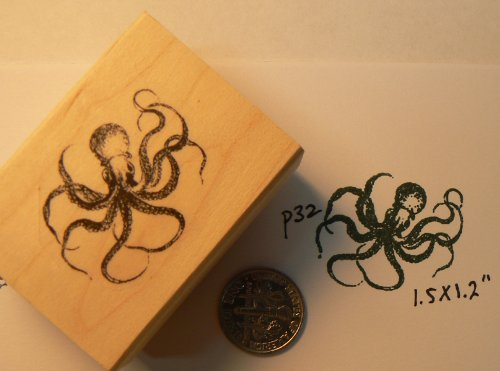 Miniature Octopus Rubber Stamp<br>Wood Mounted and Deeply Etched<br>1.2x1.5 Inches