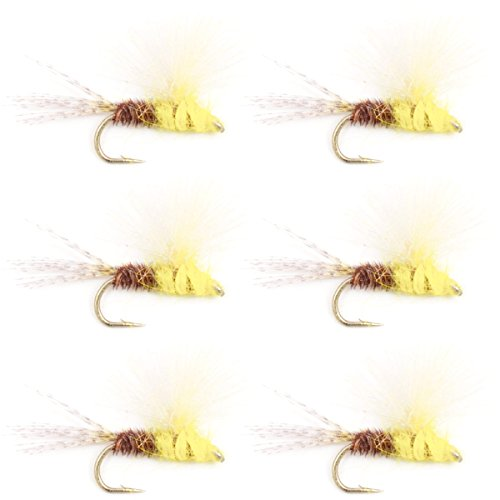 The Fly Fishing Place CDC Pale Morning Dun Emerger PMD Trout Dry Fly Fishing Flies - Set of 6 Flies Size 16