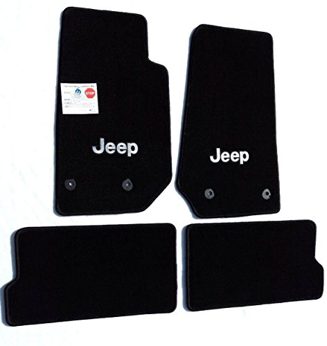 Lloyd Mats Part Compatible with Jeep Wrangler 4 Piece  All Weather Carpet Floor Mats with Silver Jeep Logo on Fronts Custom fits 2014-2018 4 Door Model Only ()