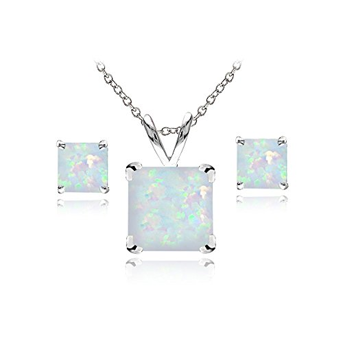 White Opal Thin (Sterling Silver Simulated White Opal Square Solitaire Necklace and Stud Earrings Set)