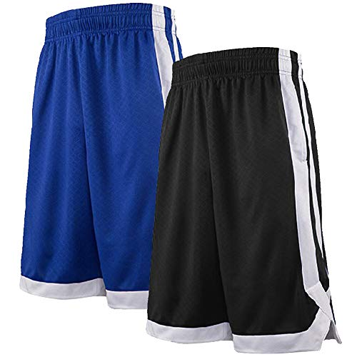 TOPTIE 2-Tone Basketball Shorts for Men with Pockets, Pocket Training Shorts-2 Pack Black/Blue-M (Blue Basketball Shorts)