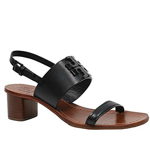 66d5c35d5e1b Tory Burch Womens 45Mm Lowell 2 Vegan Nappa Leather Block Heel Sandal Black  001 (9.5 M US)