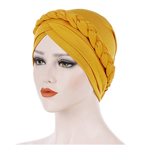 Fxhixiy Hijab Braid Silky Turban Hats for Women Cancer Chemo Beanies Cap Headwrap Headwear (Yellow) ()