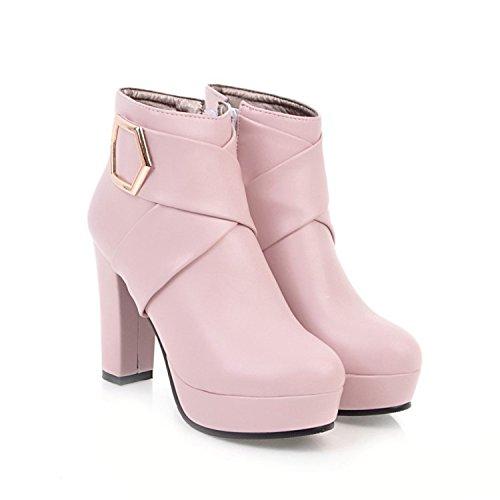 Botines Cortos de tacón Alto con Plataforma y tacón Alto para Mujer, Rosa, 41: Amazon.es: Zapatos y complementos