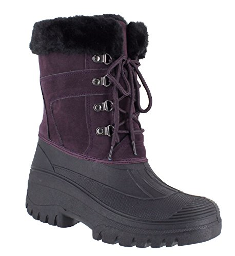 Work amp; Top Slip Purple Country Stable Anti Fur For Up Lined Premium Clothing Lace Thermal Fenside Faux Walking Ladies Winter Boots 7TqFAZTxw