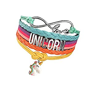 Pexin Unicorn Bracelet Wristband Handmade Rainbow Jewelry Infinity Love Charm Gifts
