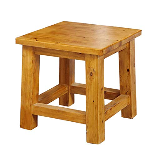 PTERS Antique Revival Wood Step Stool/Accent Made of Mahogany in Chic Lightly Distressed Finish (Square Seat, for Home ()